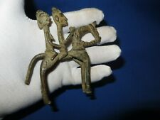 Superb Antique African Dogon Tribal Bronze Man & Woman on Horse Est 400 Yrs Old