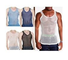 Mens String Mesh Vest Sleeveless Fitted Gym Training Tank Top T Shirt Fish Net