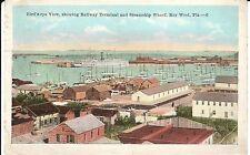 1922 Bird's Eye View of Railway Terminal & Wharf in Key West, FL Florida PC