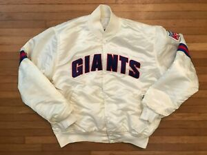 New York Giants Men's Large L Button-up Satin NFL White Starter Jacket / Coat