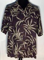 Tommy Bahama Blue Green Floral 100% Silk Size Medium Short Sleeve Hawaiian Shirt