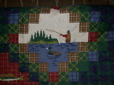 King + 2 king Shams  Fly Fishing Quilt Lures river lake lodge TROUT cabin fish
