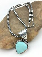 """Native Americ Sterling Silver Turquoise Pendant Navajo Pearl Necklace 2.25"""" 4818"""