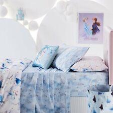 Adairs Kids FROZEN II Blue COT Sheet Set + CUSHION - Anna Elsa, Snow, Embroidery