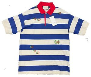 $900 Gucci Cotton Striped Embroidered Jersey Polo Shirt Size XL, Made in Italy