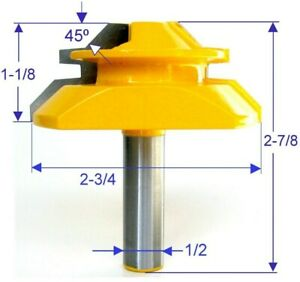 "1 pc 1/2"" SH 2-3/4"" Diameter 45° Lock Miter Router Bit S"