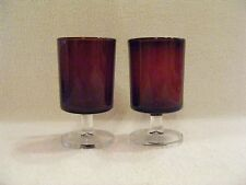RUBY RED JUICE GLASSES WITH CLEAR GLASS STEMS - SET OF 2