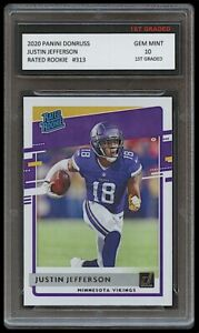 JUSTIN JEFFERSON 2020 PANINI DONRUSS RATED ROOKIE 1ST GRADED 10 VIKINGS RC CARD