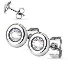 New Surgical Steel Clear Gem Set Disc Earring Studs One Pair