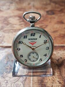 schöne Serkisof Eisenbahner Taschenuhr mit 18Jewels First Quality Uhrwerk