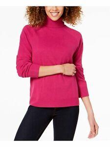 KAREN SCOTT Womens Pink Ribbed Long Sleeve Turtle Neck Sweater Petites Size: L