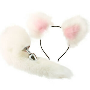White Fox Tail and Furry Ears Anal-Butt Plug Sexual Funny Toy Cosplay Adult L Tg