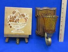 Homco Candle Holder Sconce Gold Tone Glass Tile Trivet Fruit Wood Display Frame