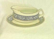 Wood & Sons Gravy Boat and Saucer Underplate Saracen  England  White Ironstone