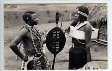 (Ly222-388) Real Photo of Zulu Warrior and Woman, c1920 Unused VG