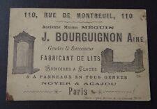 Carte de visite BOURGUIGNON Fabricant de lit armoire PARIS old visit card