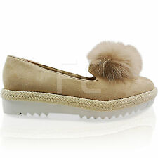 NEW WOMENS LADIES FLAT LOW WEDGE PLATFORM POM POM ESPADRILLES SHOES PUMPS SIZE