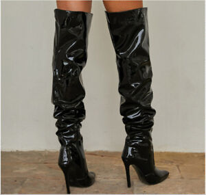 Women Sexy Black Pointed Toe Knee High Boots High Heel Zip Stiletto Boots Club