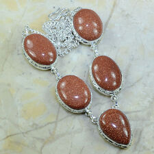 "Handmade Sun Sitara Goldstone Jasper 925 Sterling Silver Necklace 19.25"" B18836"