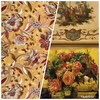 NEW Designer French Floral Brocade Upholstery Fabric- Mustard Yellow