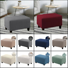 Oversize Fleece Protector Ottoman Slipcover Sofa Footstool Cover Stretch Storage