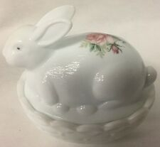 Bunny Rabbit on Basket Dish w/ Rose - Milk Glass - Mosser USA - Rosso Exclusive