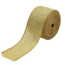 5 Meters Natural Jute Burlap Ribbon with Gold Net for Gift Wrapping 50mm