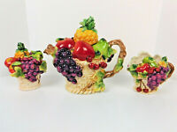 '90s Decorative Ceramic 5-Pc 3-D Fruit Teapot, Sugar Bowl, & Creamer/Collectible