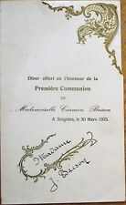 Menu: French 1925 First Communion w/Comet/Shooting Star Vignette - Beef Tongue