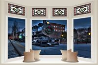 Huge 3D Bay Window Locomotive Train View Wall Sticker Mural Wallpaper S22