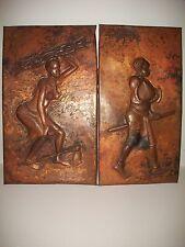 Pair Hammered Copper African Folk Art Wall Plaque, Signatured Piece