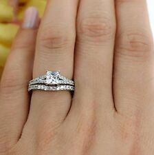 Band Princess Cut White Gold Fn Diamond Bridal Set Engagement Ring & Wedding