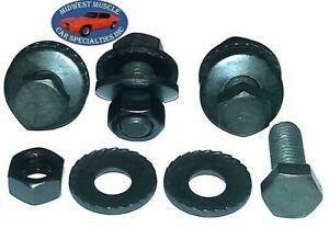 """58-81 GM 1-1/2"""" NOSR Bumper Bracket Frame Adjustment Bolts & Toothed Washers EJ"""