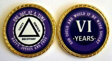 """Alcoholics Anonymous 6 Year Rope Edge Sobriety Coin Chip 1 3/4"""" - Purple/Purple"""
