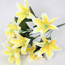 Silk Flower Artificial Lilies Bouquet 10 Heads Home Table Wedding Floral Decor