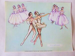 """Genuine Vintage Brownie Downing Ballerina Print, """"The Swan Lake"""" Colour Picture"""