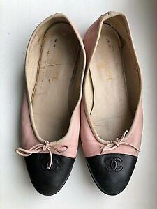 Chanel Authentic Ballet Flats Leather Shoe Black Pink Logo CC Size:40,1/2