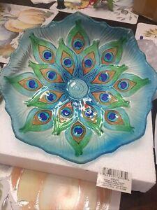 Glass Bird Bath Bowl On Stake - Peacock -  Metal Stake Garden Beauty Decor