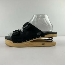 J Rubio Luver Size 39 US 8 Black Leather Sandal Coil Spring Heel Wooden Sole