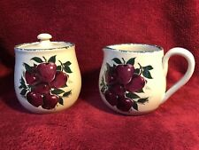 Home & Garden Party 2003 'Apples' Cream & Sugar Stoneware Hand Turned