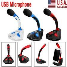 USB Microphone Stand Audio Recording LED Mic Studio Gaming PC Desktop Computer