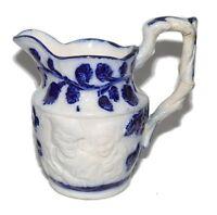 Flow Blue Antique English Embossed Scene Stoneware Creamer 1850-1899