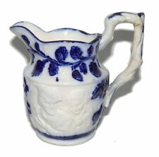Antique Flow Blue English Embossed Scene Stoneware Creamer 1850-1899