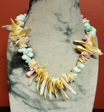 Handmade Pastel Coloured Shell Necklace Brass Screw Clasp 46 cm