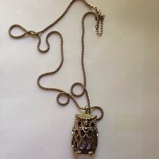 Equip Silver Tone Metal Owl Pendant 3 D With Bead  Eyes Adjustable Chain