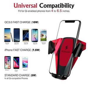 Universal Car Air Vent Mount Holder & Qi Wireless Fast Charger for Cell Phone