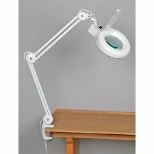 Fluorescent Magnifying Lamp Adjustable Glass Magnifier Hobby Desk Table Light