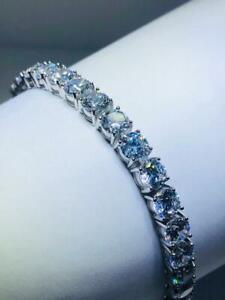 "Platinum Sterling Silver White Sapphire 5mm Classic Design Tennis Bracelet 6"" L"