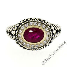Detailed Sterling Silver & 14K Yellow Gold 1.95ctw Ruby Solitaire & Diamond Ring