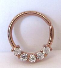 18k Rose Gold Plated Clear Gems Cz Cartilage Hoop Ring Seamless 16 gauge 16g